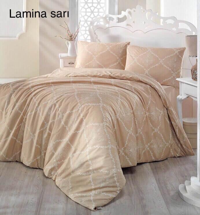 Полуторное постельное белье Altinbasak Lamina Sari Ранфорс