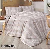 Двуспальное евро постельное белье Altinbasak Nobby Bej Ранфорс