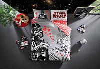 Двуспальное евро постельное белье TAC Star Wars Valentin Ранфорс (простынь на резинке)
