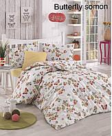 Двуспальное евро постельное белье Altinbasak Butterfly somon Ранфорс