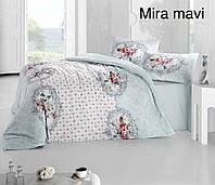 Двуспальное евро постельное белье Altinbasak Mira mavi Ранфорс