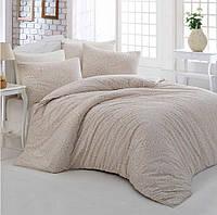 Двуспальное евро постельное белье Altinbasak Rozi krem Ранфорс / простынь на резинке