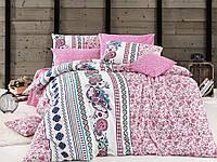 Двуспальное евро постельное белье Nazenin Mystical Pink Ранфорс