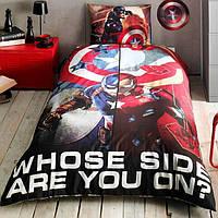 Детское подростковое постельное белье TAC Disney Captain America Movie Ранфорс (простынь без резинки)