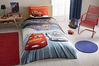 Детское подростковое постельное белье TAC Disney Cars 3 Ранфорс (простынь без резинки)