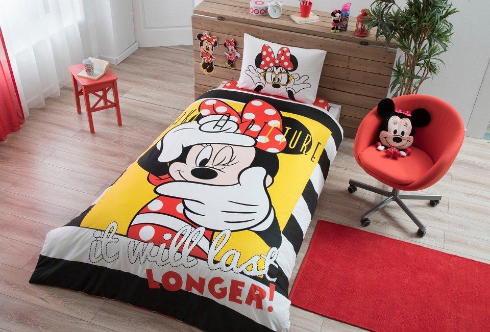 Детское подростковое постельное белье TAC Disney Minnie Selfie Ранфорс