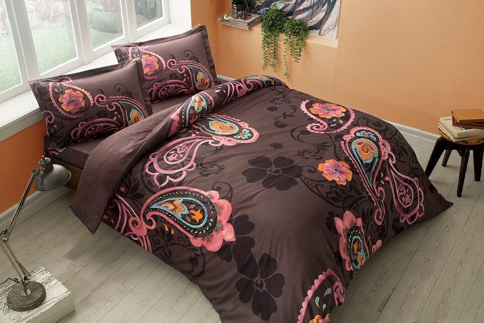 Двуспальное евро постельное белье TAC Laven Black Сатин