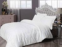 Двуспальное евро постельное белье TAC Brinley White Сатин-Жаккард