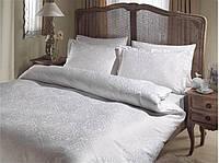 Двуспальное евро постельное белье TAC Gardenia White Сатин-Жаккард