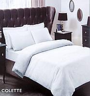 Двуспальное евро постельное белье TAC Colette White Сатин-Жаккард