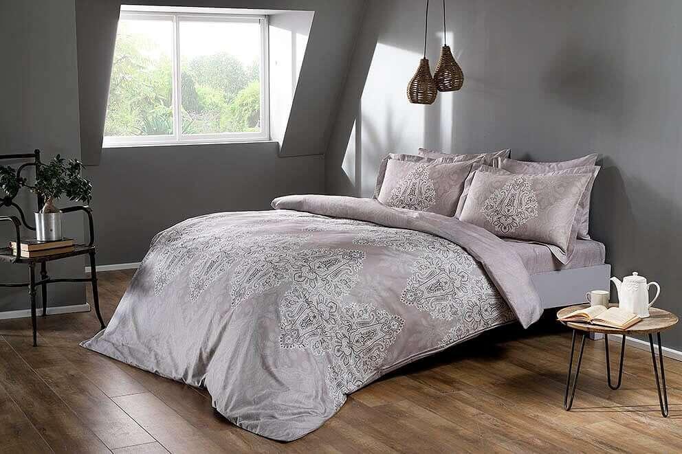Полуторное постельное белье TAC Caledon Grey Сатин-Digital