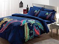 Двуспальное евро постельное белье TAC Mikela Blue Сатин-Delux