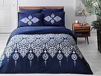 Двуспальное King Size постельное белье TAC Rados Blue Сатин-Delux