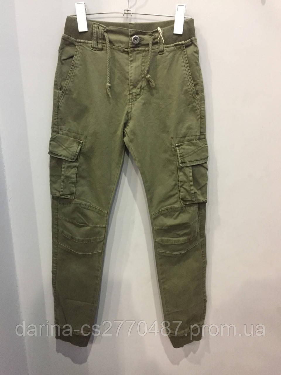 Модные подростковые котоновые брюки для мальчика 134 см