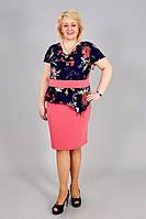 Нарядное женское платье с баской больших  размеров