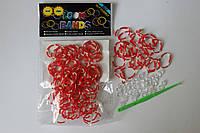 100 штук красно-белая (зебра) резиночек для плетения Loom Bands