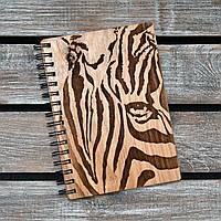 Деревянный блокнот на пружине. Формат А5. Зебра. (А00506)