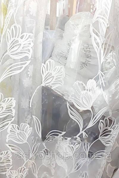Тюль органза с цветами тюльпан
