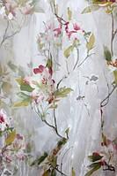 Тюль с цветами Гранада  бордо