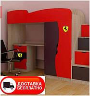 Кровать-чердак Тeenager цвет Дуб Сонома, фасад МДФ красный/графит, бесплатная доставка в Ваш город