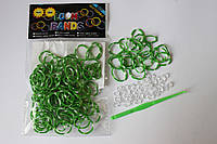 100 штук зелено-белая (зебра) резиночек для плетения Loom Bands