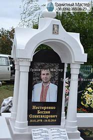 Памятник в виде церкви из мрамора. Полтавская обл., с. Плехов 10