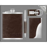 Деловой набор Moongrass 4 предмета №55-6,подарочный мужской набор 4 в 1 :ручка, брелок, зажигалка, партмане