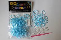 100 штук бело-голубая (зебра) резиночек для плетения Loom Bands
