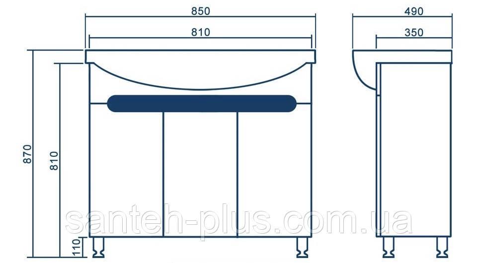 Тумба Темза Т 17 с умывальником Изео -85