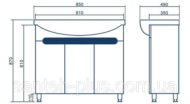 Тумба Темза Т 17 с умывальником Изео -85, фото 2
