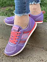 Кроссовки женские 8 пар в ящике фиолетового цвета 36-41, фото 1