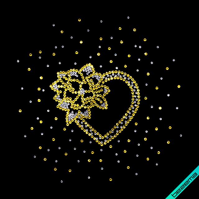 Картинки на сліпони,снікерси Серце (Скло,2мм-біл.,3мм-зол.)