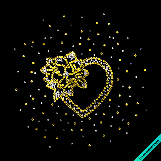 Картинки на слипоны,сникерсы Сердце (Стекло,2мм-бел.,3мм-зол.)