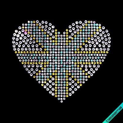 Термотрансферы на свитеры Сердце (Стекло,3мм-бел.,2мм-бенз.,2мм-жел.)