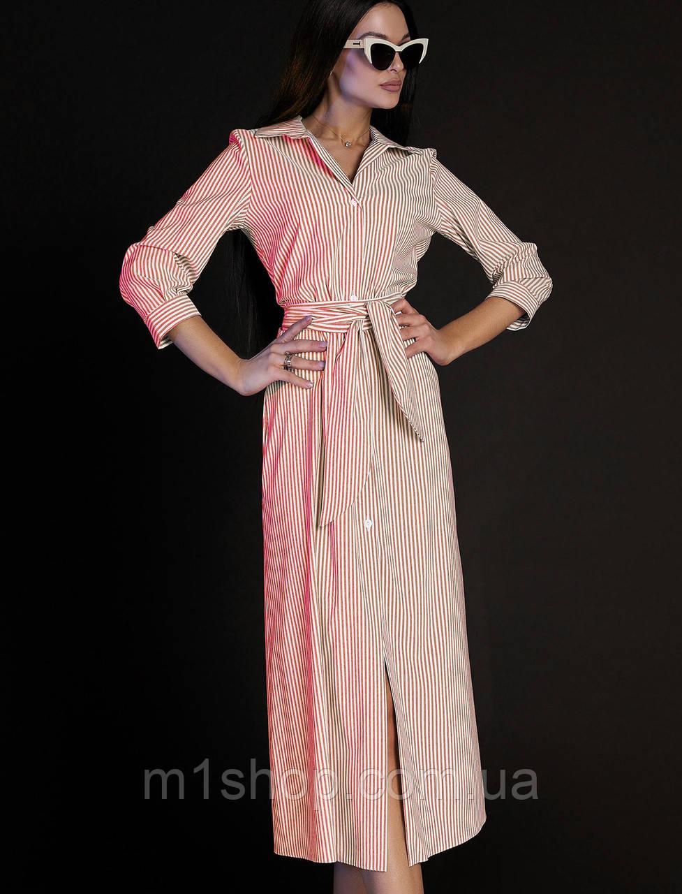 Женское платье-рубашка в полоску (Рио jd)