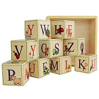 Деревянный английский алфавит с цифрами - кубики 9шт., фото 1
