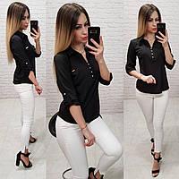 Блузка/блуза - рубашка с пуговками на груди, модель 828 , цвет чёрный