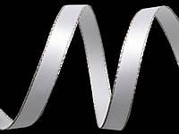 Лента атласная белая с серебристым люрексом 6 мм