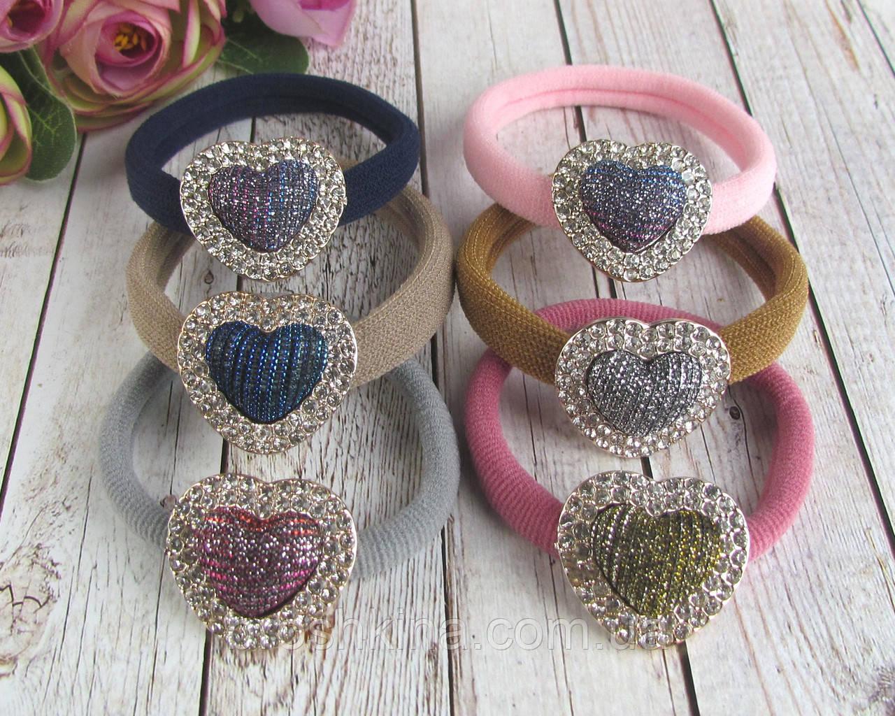 Резинки для волос микрофибра Сердечки со стразами цветные 12 шт/уп.