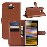 Чехол-книжка Litchie Wallet для Sony Xperia 10 Plus Коричневый, фото 1