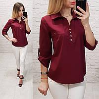 Блузка/блуза - рубашка с пуговками на груди, модель 828 , цвет марсала