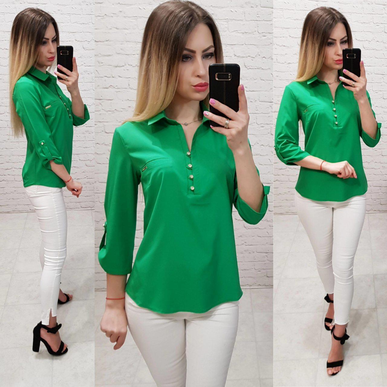 Блузка/блуза - рубашка с пуговками на груди, модель 828 , цвет зелёный трава
