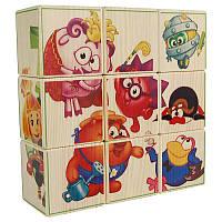 Пазлы кубики с картинками - 9шт (Смешарики).