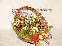"""Роскошная конфетная корзина """"клубничный рай""""№20+5"""