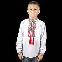Вишиванка дитяча для хлопчика з червоним орнаментом