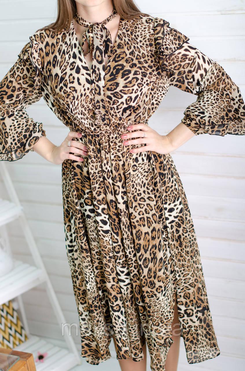 8d09f562085 Длинное шифоновое платье с леопардовым принтом - Интернет магазин женской  одежды Melisa в Харькове