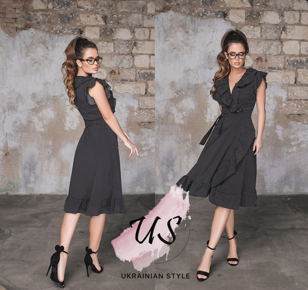 19a4481a1dbf219 Летнее платье на запах в мелкий горошек с воланами. Цвета!: продажа ...