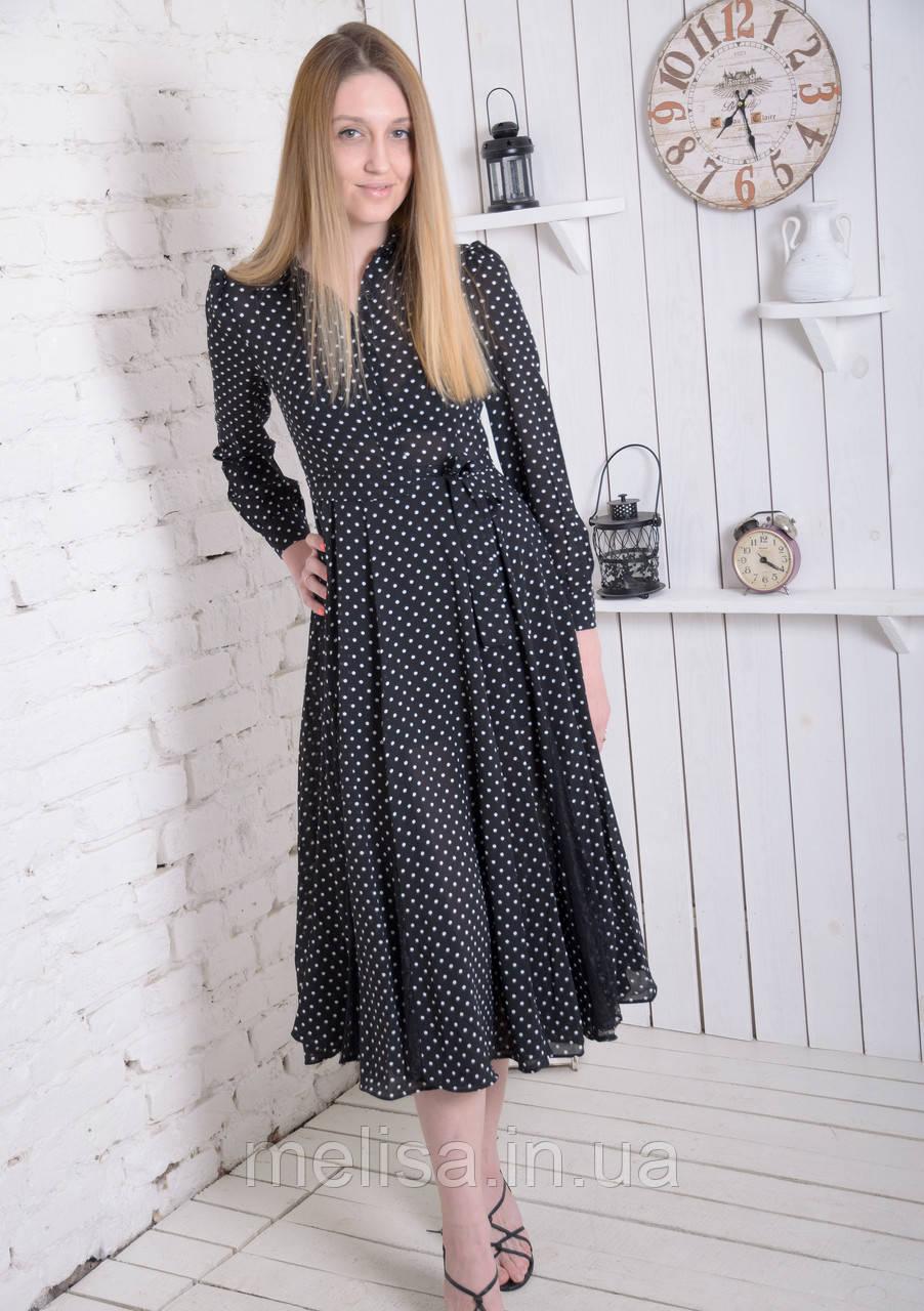 8f2ca0a1c7c Женское черное платье в горошек - Интернет магазин женской одежды Melisa в  Харькове