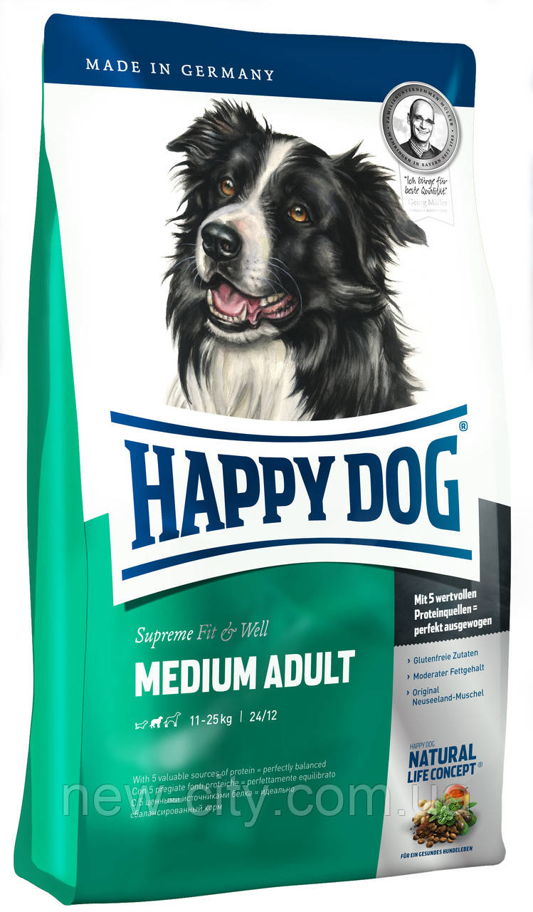 Корм для собак Happy Dog (Хэппи Дог) F&W Medium Adult для средних пород, 4 кг