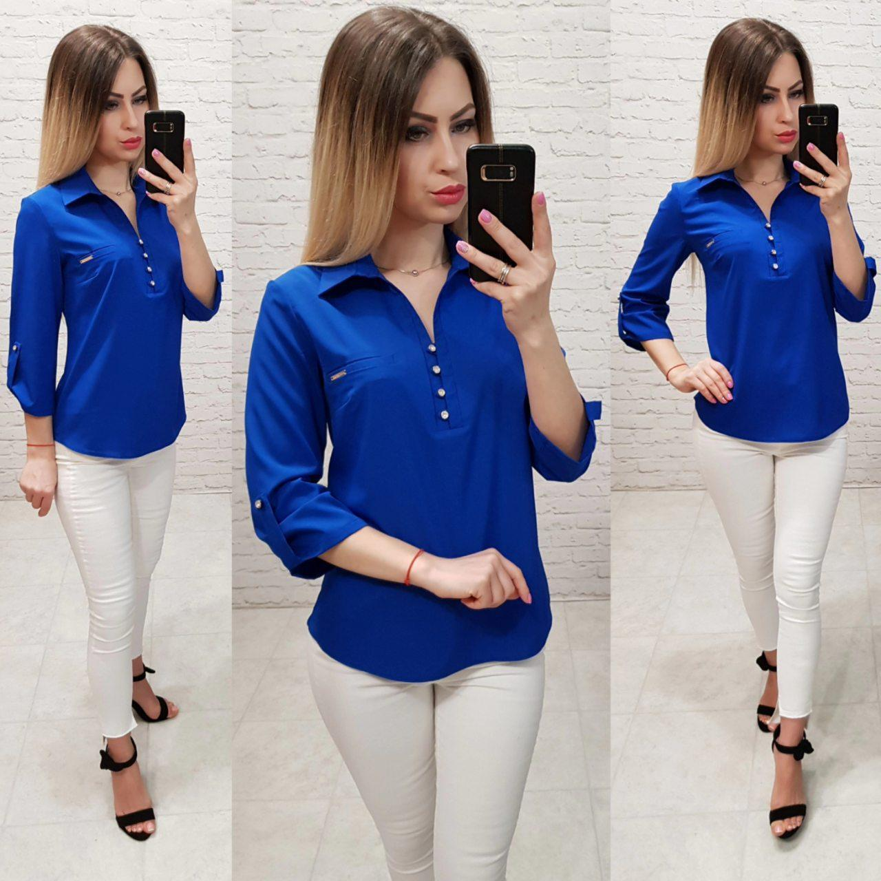 Блузка/блуза - рубашка с пуговками на груди, модель 828 , цвет электрик